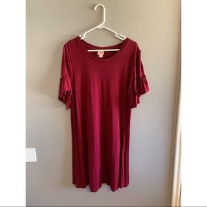 Red crew neck dress with ruffled sleeves